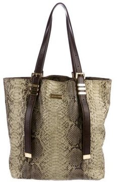 Michael Kors Leather-Trimmed Python Tote - GOLD - STYLE