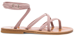 K. Jacques Suede Zenobie Sandals in Pink.