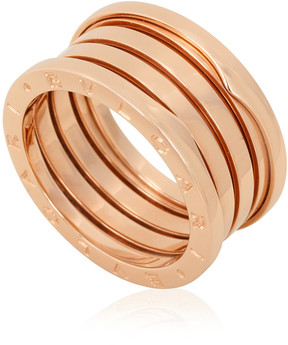 Bvlgari B.Zero1 18K Pink Gold 4-Band Ring Size 7