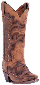 Dan Post Cognac Stitch-Accent Snip-Toe Leather Cowboy Boot - Women