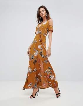 AX Paris Cold Shoulder Bold Floral Maxi Dress With Tie Waist