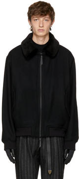 Robert Geller Black Wool Thomas Bomber Jacket
