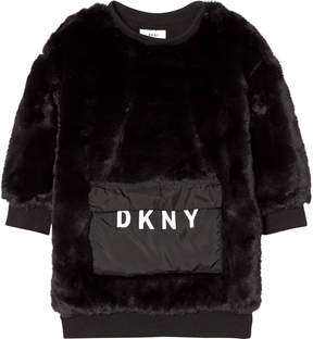 DKNY Black Faux Fur Dress with Branded Pocket