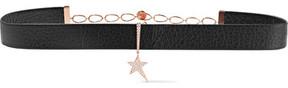 Diane Kordas 18-karat Rose Gold, Leather And Diamond Choker