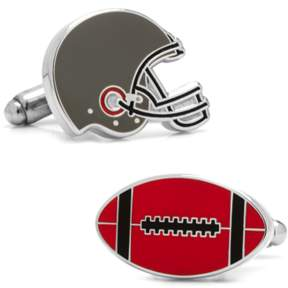 Co Ox and Bull Trading Varsity Football Black, Red, And White Cufflinks.