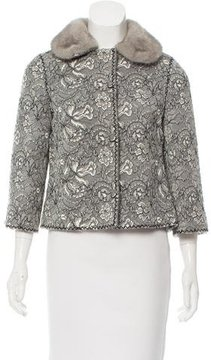 Andrew Gn Mink-Trimmed Lace Jacket