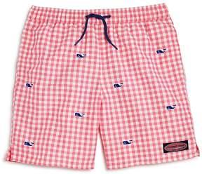 Vineyard Vines Boys' Gingham Embroidered-Whale Chappy Swim Trunks - Little Kid, Big Kid