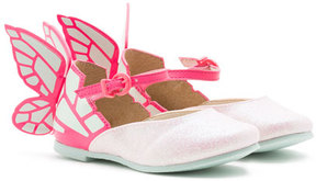 Sophia Webster Chiara Leather-Trim Butterfly Mary Jane Flat, Pink, Toddler