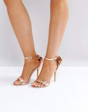 Glamorous Bow Back Rose Gold Heeled Sandals