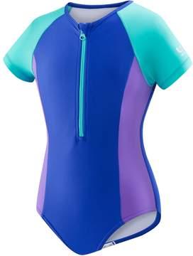 Speedo Girls 7-16 Short Sleeve Zip One-Piece Swimsuit