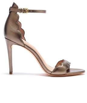 Rachel Zoe | Ava Scalloped Metallic Leather Heeled Sandals | 6.5 us | Old gold
