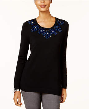Charter Club Embellished-Neck Sweater, Created for Macy's