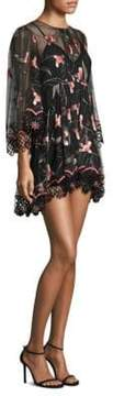 Alice McCall Wish You Were Here Sheer Embroidered Floral Mini Dress