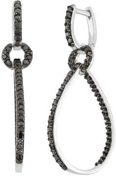 Black Diamond 1 Carat T.W. Sterling Silver Inside-Out Teardrop Earrings