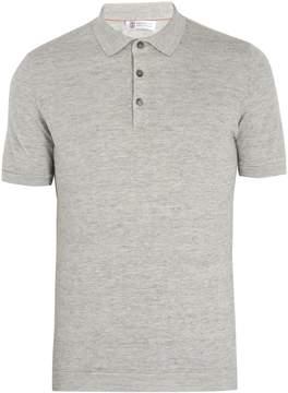 Brunello Cucinelli Point-collar linen and cotton-blend polo shirt
