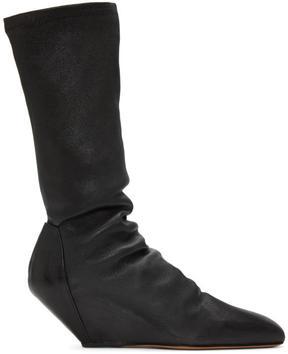 Rick Owens Black Mid-Calf Wedge Boots