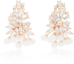 Fallon Monarch Juniper Cluster Crystal And Rose Gold-Plated Earrings