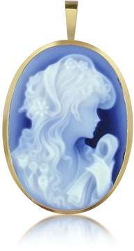 Del Gatto Woman with Flowers Agate Cameo Pendant/Pin
