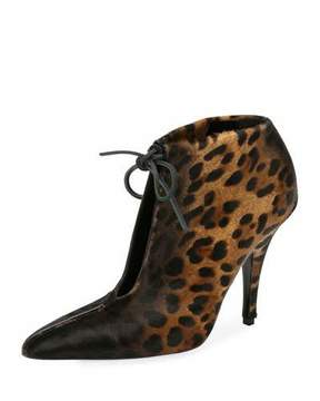 Tom Ford Leopard-Print Ankle-Tie 105mm Bootie, Black/Multi