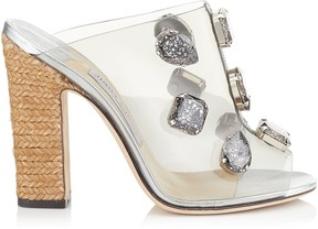 Jimmy Choo LING 110 Clear Plexi Mules with Jewels and Rope Wedge