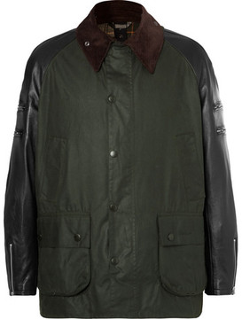 Junya Watanabe + Barbour Leather And Tweed-Trimmed Waxed-Cotton Jacket