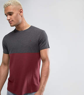 Jack Wills Devonshire Slim Fit Pique Color Block T-Shirt In Damson