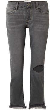Current/Elliott The Cropped Distressed Mid-rise Straight-leg Jeans - Gray