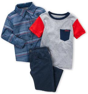 DKNY Toddler Boys) 3-Piece Variegated Stripe Shirt & Pants Set