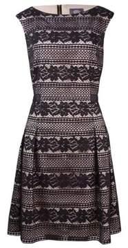 Vince Camuto Women's A Floral Lace Cap Sleeve Dress (10, Black)