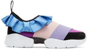 Emilio Pucci Purple and Black Colorblock Ruffle Slip-On Sneakers