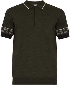 Lanvin Striped-collar wool polo shirt