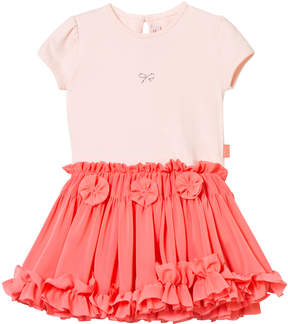 Lili Gaufrette Pink and Coral Party Dress with Knickers