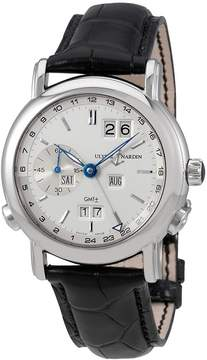 Ulysse Nardin GMT Perpetual Silver Dial 18kt White Gold Black Leather Men's Watch