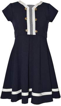 Bonnie Jean Girls 7-16 Nautical Striped Inset Poplin Dress
