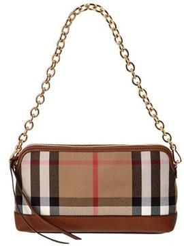 Burberry Abingdon House Check & Leather Clutch Bag. - KHAKI - STYLE