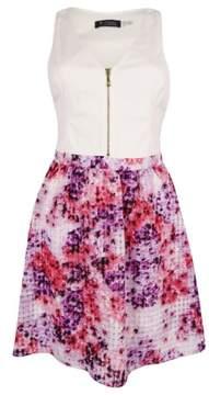 GUESS Women's Sleeveless Floral-Print Cutout Dress (6, Ivory/ Multi)
