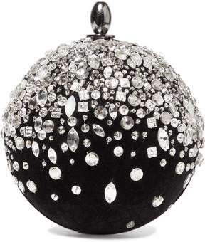 Oscar de la Renta Crystal-embellished Velvet Clutch - Black