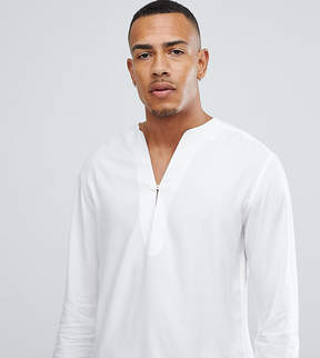 Asos DESIGN Tall regular fit longline viscose shirt in white with v neck