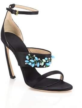 Giambattista Valli Womens Embroidered Black Sandals.