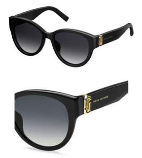 Marc Jacobs Plastic Oval Sunglasses 54 0807 Black 9O dark gray gradient lens