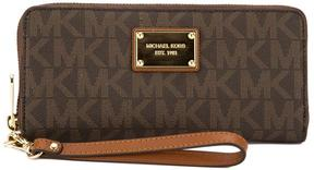 Michael Kors Brown Signature Canvas Jet Set Travel Continental Wallet - BROWN - STYLE