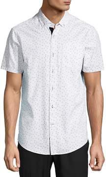 Report Collection Men's Micro Dot Anchor Cotton Button-Down Shirt