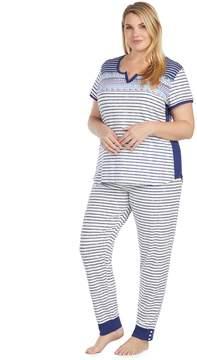 Cuddl Duds Plus Size Weekend Getaway Short Sleeve Top & Jogger Pants Pajama Set