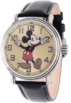 Disney Mickey Mouse Men's Antique Silver Vintage Alloy Watch, Black Leather Strap