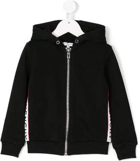 Givenchy Kids zip-up logo webbed hoodie