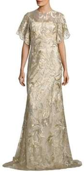 Theia Metallic Embroidered Gown