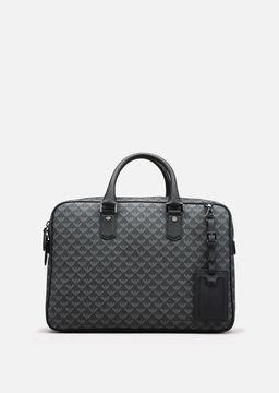 Emporio Armani logo pattern pvc small briefcase