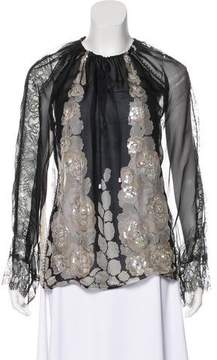 Blumarine Lace-Trimmed Silk Blouse