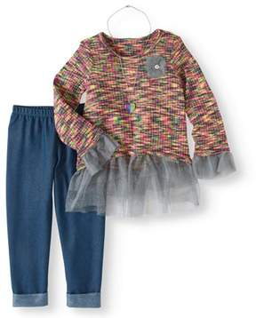Nannette Little Girls 4-6X Space Dye Top, Legging and Necklace 3-Piece Outfit Set