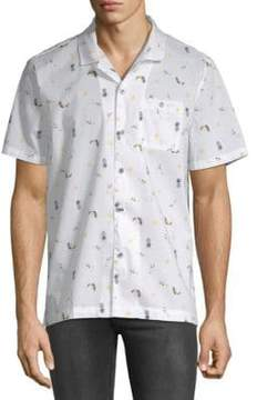 Michael Bastian Printed Short-Sleeve Cotton Button-Down Shirt